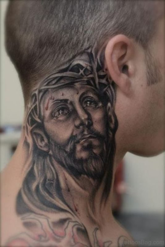 Spiritual Lord Jesus Tattoo On Neck