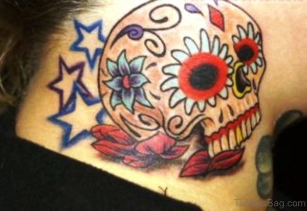 Star And Skull Tattoo On Neck