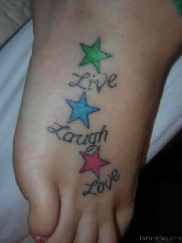 Star And Wording Tattoo