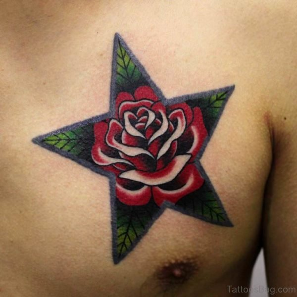 Star With Rose Tattoo