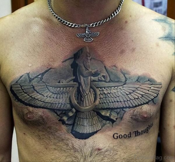 Stone Egyptian Mens Upper Chest Tattoo