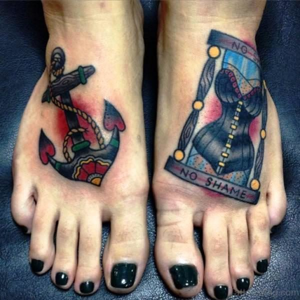 Stunning Anchor Tattoo Design On Foot