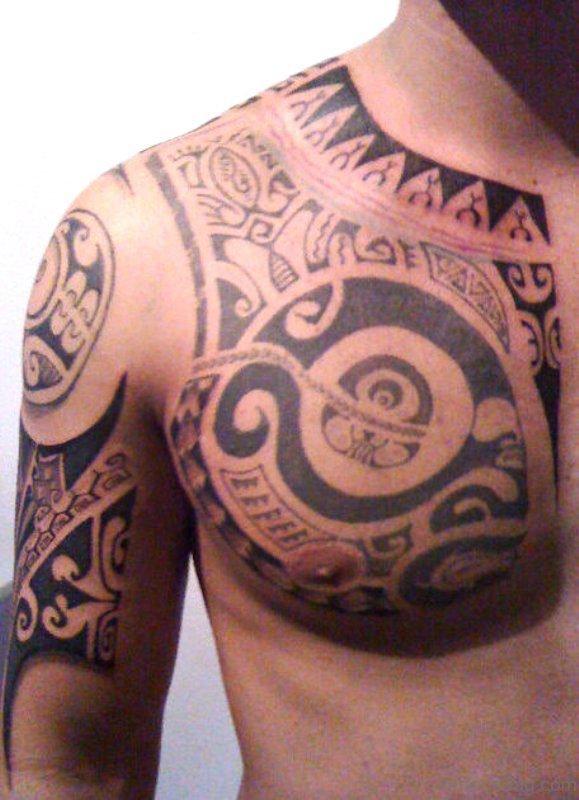 Stunning Armour Tattoo On Chest