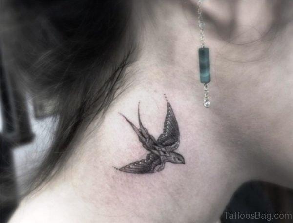 Stunning Bird Tattoo On Neck
