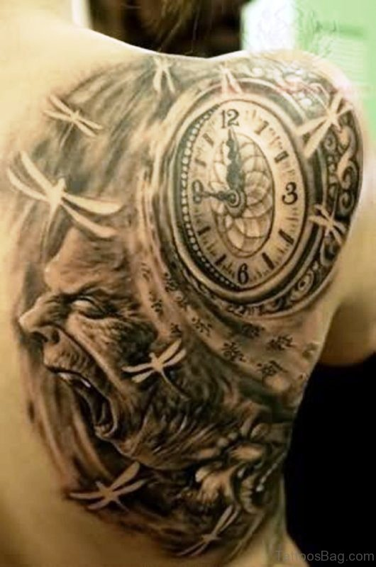Stunning Black Clock Shoulder Tattoo Design