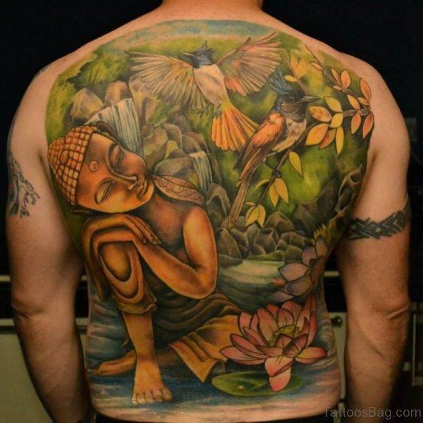 Stunning Buddha Tattoo On Back