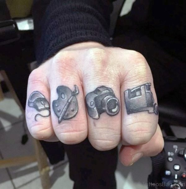 Stunning Camera Tattoo On Fingers