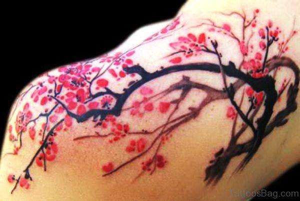 Stunning Cherry Blossom Tattoo On Shoulder Back