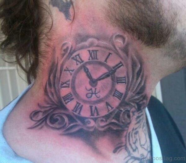 Stunning Clock Tattoo On Neck