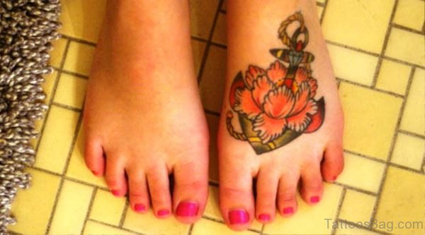 Stunning Colorful Anchor Tattoo On Foot