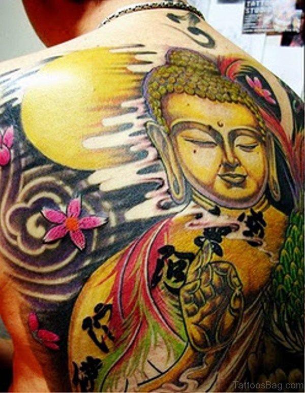 Stunning Colorful Buddha Tattoo On Back