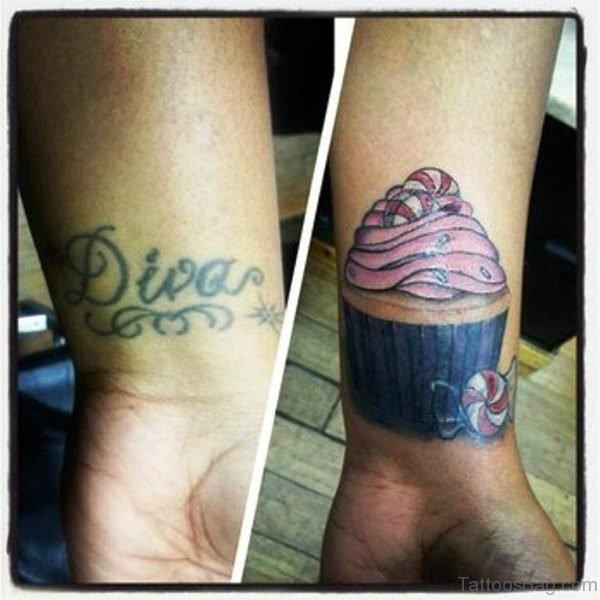 Stunning Cupcake Tattoo On Wrist