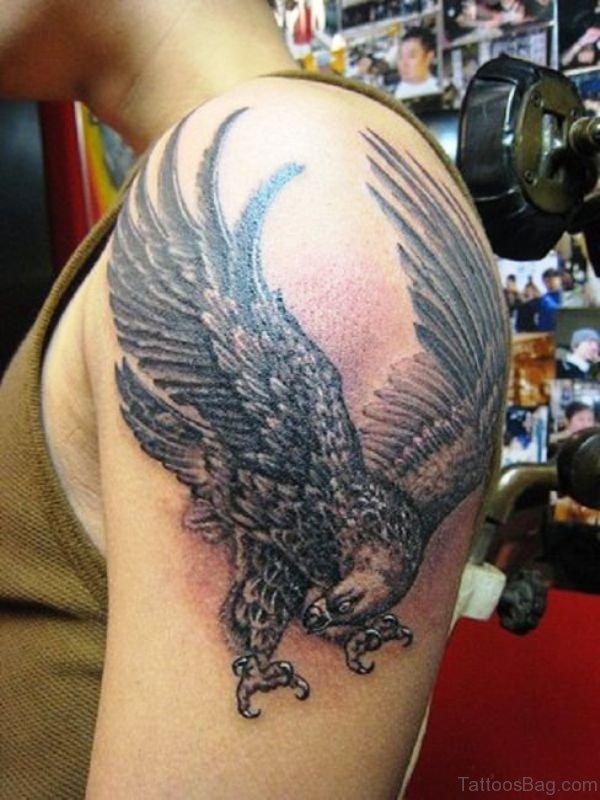 Stunning Flying Eagle Shoulder Tattoo Design