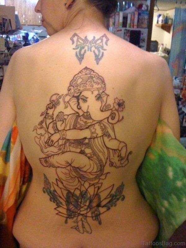 Stunning Ganesha Tattoo On Back
