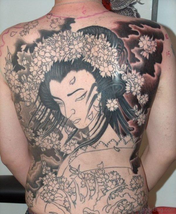 Stunning Geisha Tattoo On Back
