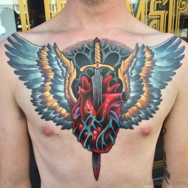 Stunning Heart Tattoo On Chest