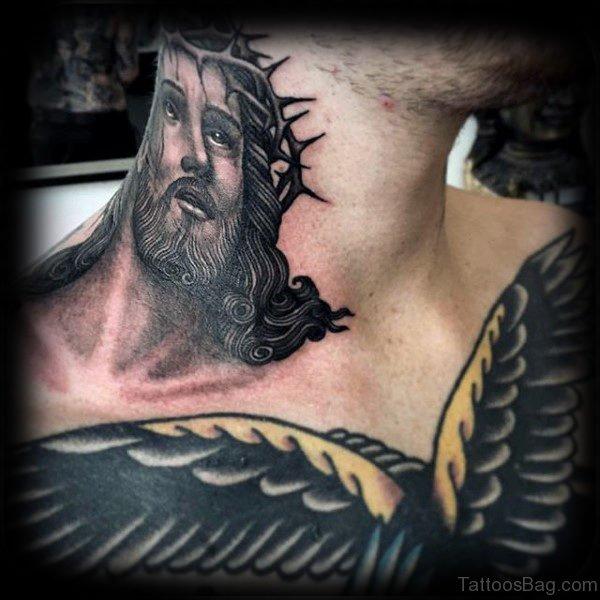 Stunning Jesus Tattoo On Neck