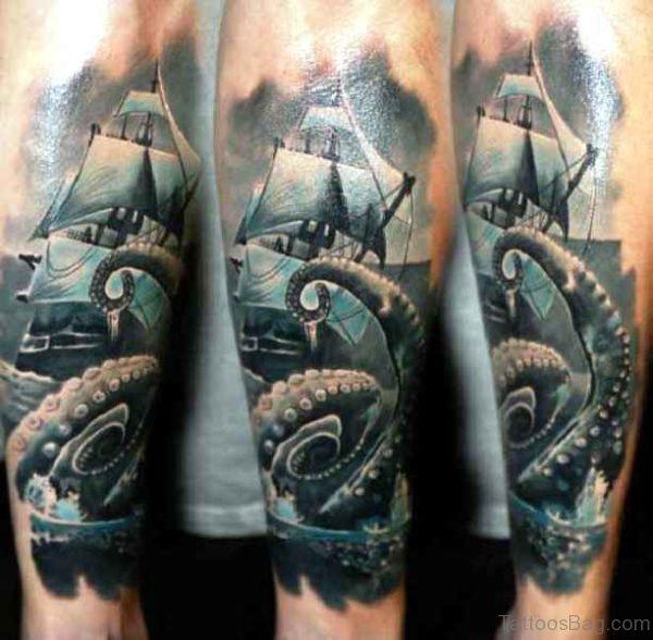 Stunning Kraken And Ship Tattoo