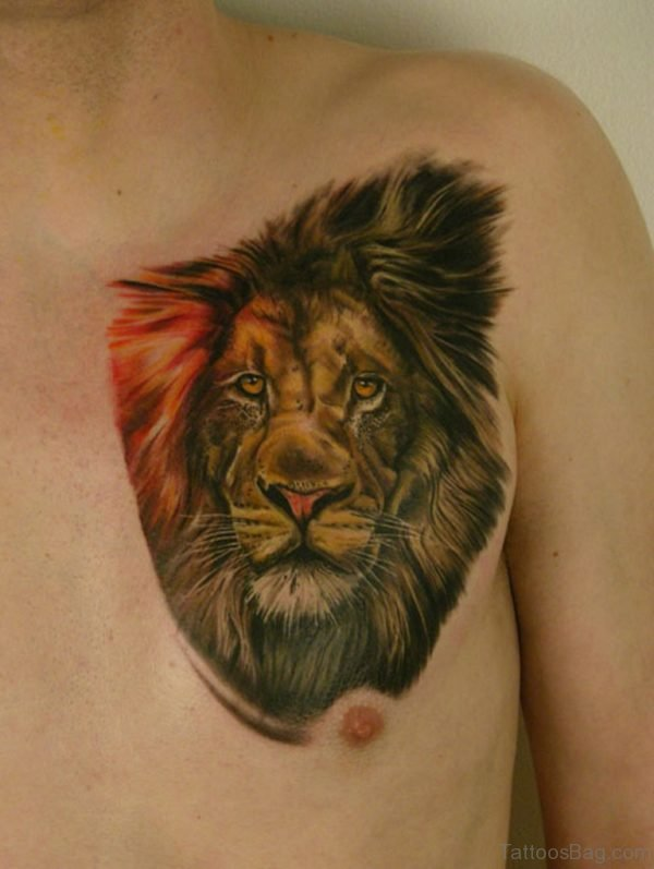 Stunning Lion Tattoo On Chest
