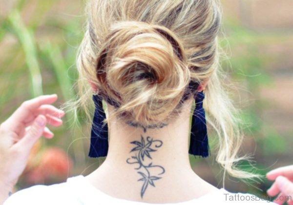 Stunning Lotus Tattoo On Back Neck