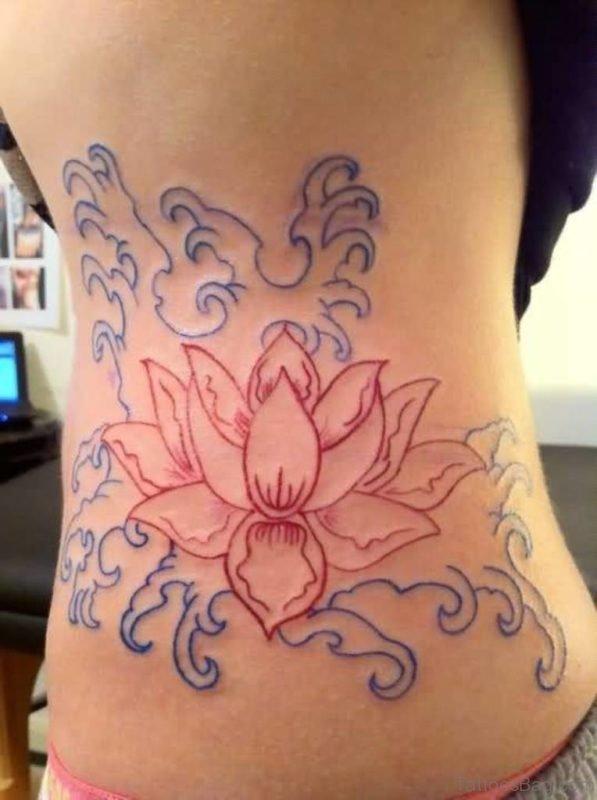 Stunning Lotus Tattoo Outline On Rib Side