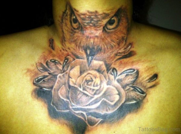 Stunning Owl Neck Tattoo For Men