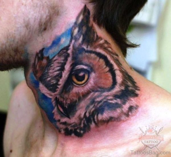 Stunning Owl Tattoo On Neck