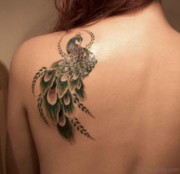 828dc8a14 Stunning Peacock Shoulder Blade Tattoo