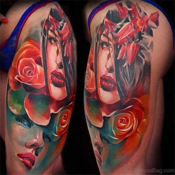 Stunning Portrait Girl Tattoo