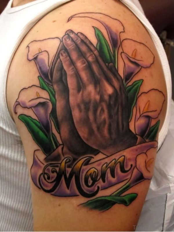 Stunning Praying Hands Tattoo On Shoulder