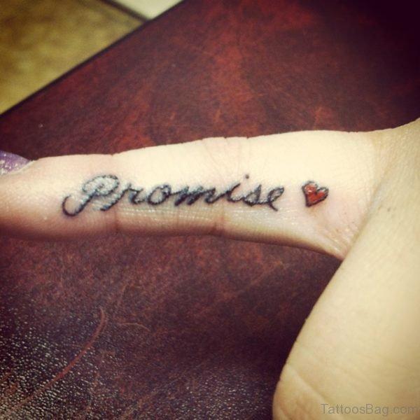 Stunning Promise Tattoo On Finger