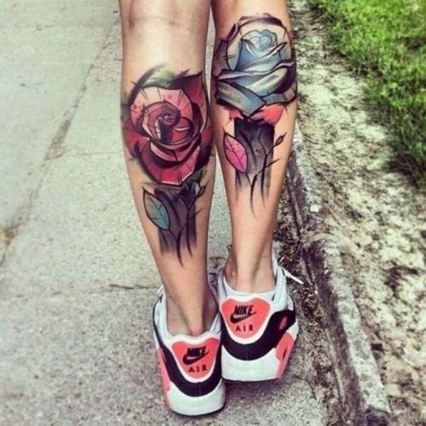 Stunning Rose Tattoo On Leg