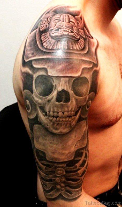 Stunning Skull Aztec Tattoo