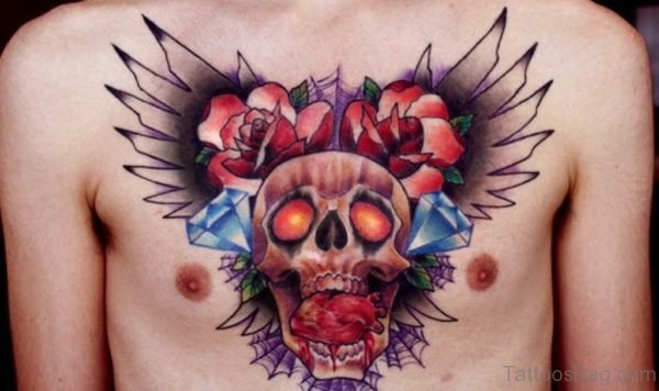 Stunning Skull Tattoo On Chest