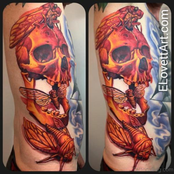 Stunning Skull Tattoo On Rib