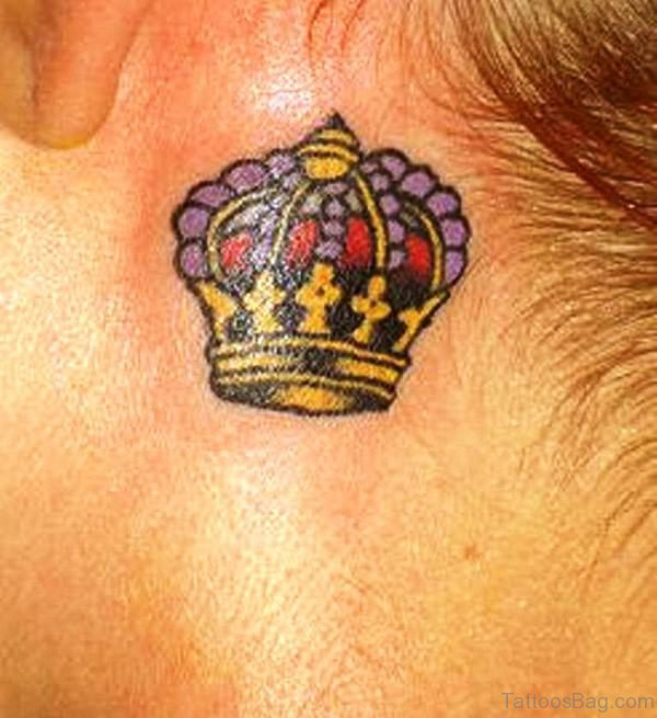 Stunning Small Crown Tattoo On Neck