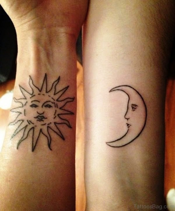 Stunning Sun And Moon Tattoo On Arm