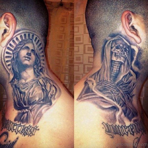 Stunning Virgin Mary Neck Tattoo