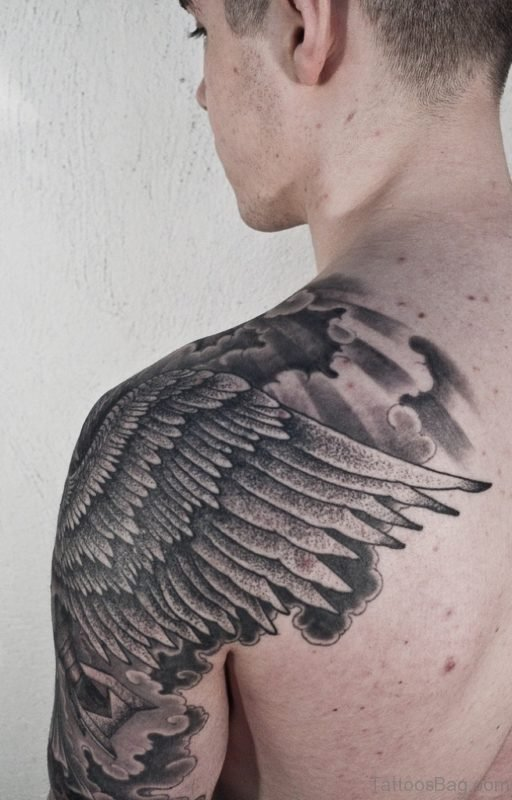 Stunning Wings Shoulder Tattoo