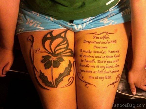 Stunning Wording Tattoo On Thigh