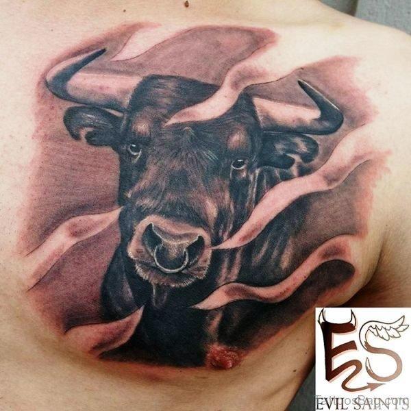 Stupendous Bull Tattoo On Chest