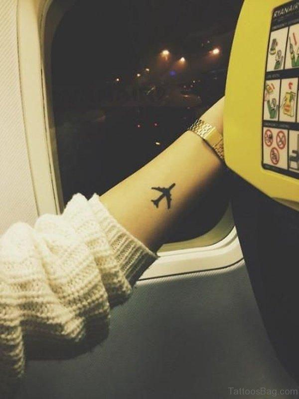 Stylish Aeroplane Tattoo On Wrist