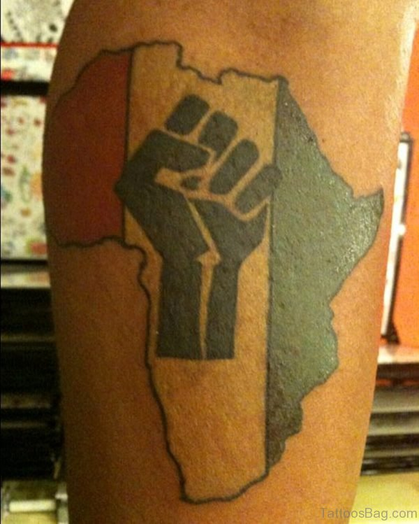 Stylish African Map Tattoo