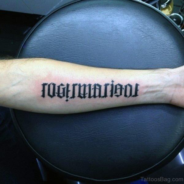 Stylish Ambigram Tattoo On Wrist
