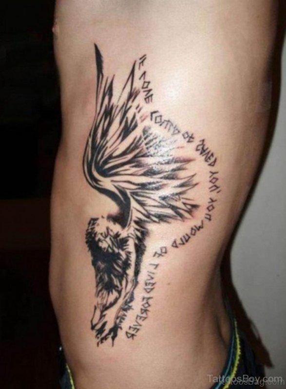 Stylish Angel Tattoo On Rib