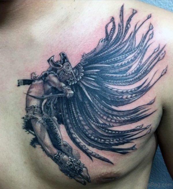 Stylish Aztec Tattoos On Chest