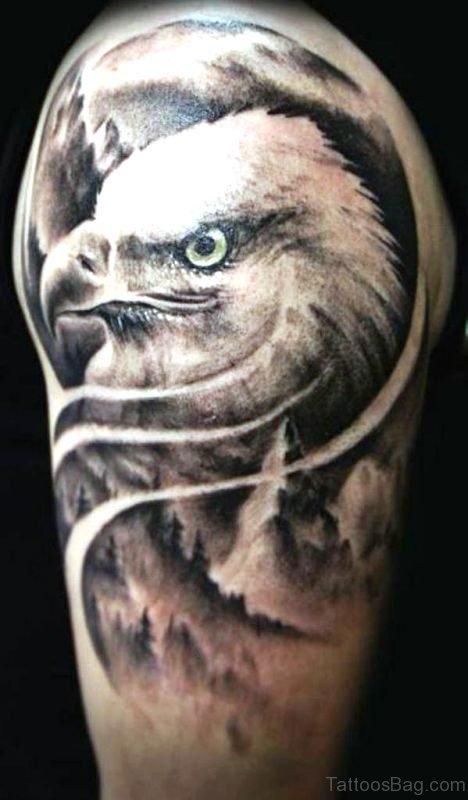 Stylish Black And White Eagle Shoulder Tattoo