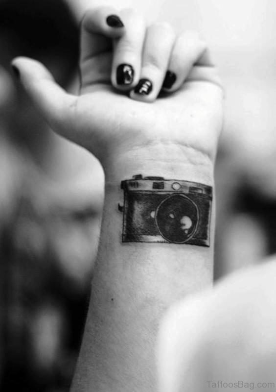 Stylish Black Camera Tattoo On Wrist
