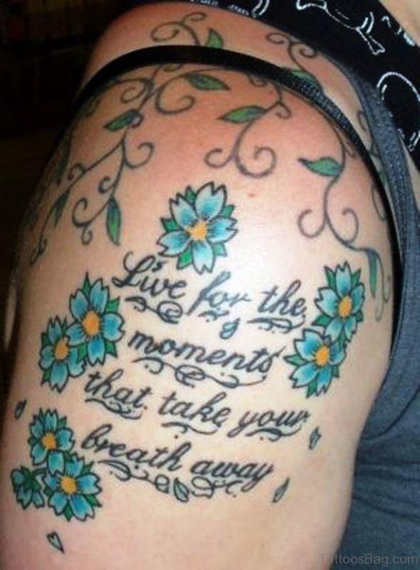 Stylish Blue Cherry Blossom Flowers Tattoo