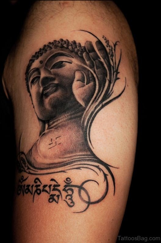 Stylish Buddha Tattoo For Shoulder